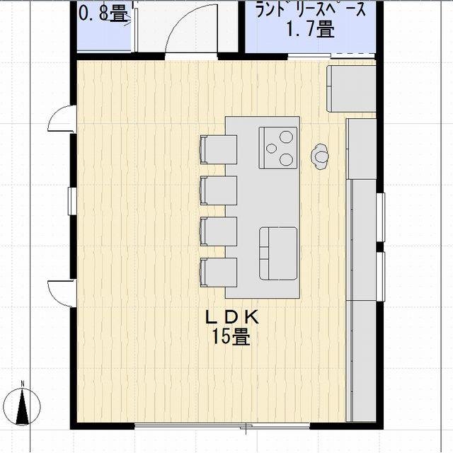 WEB内覧会リシェルプラット15畳のLDK間取り・狭いLDKにアイランドキッチン