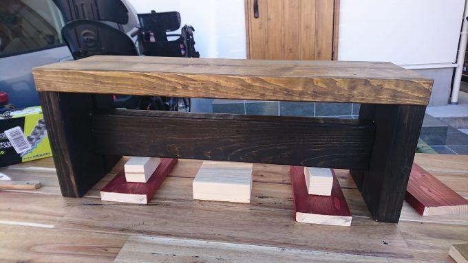 SPF製・子供用ベンチ兼小物置きの組み立て工程・仮組み仮置き