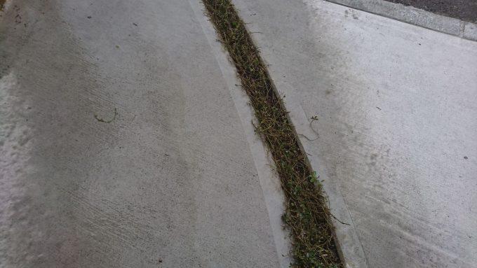 高圧洗浄機(ケルヒャー)でコンクリートについた土汚れとコケが綺麗に