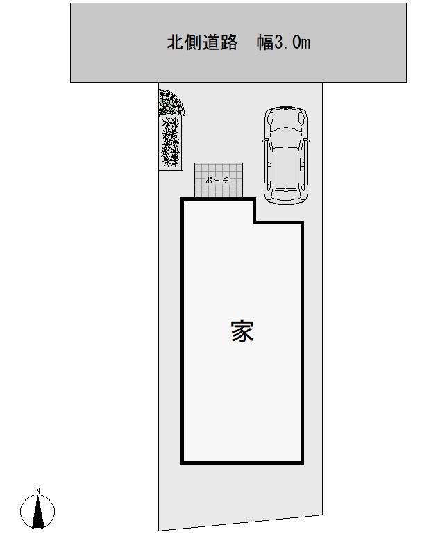 駐車スペースの奥行き5.2m、庭の奥行き2m