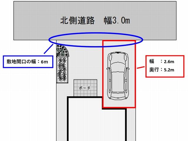 駐車スペースと道路の間口は余裕をもって6m