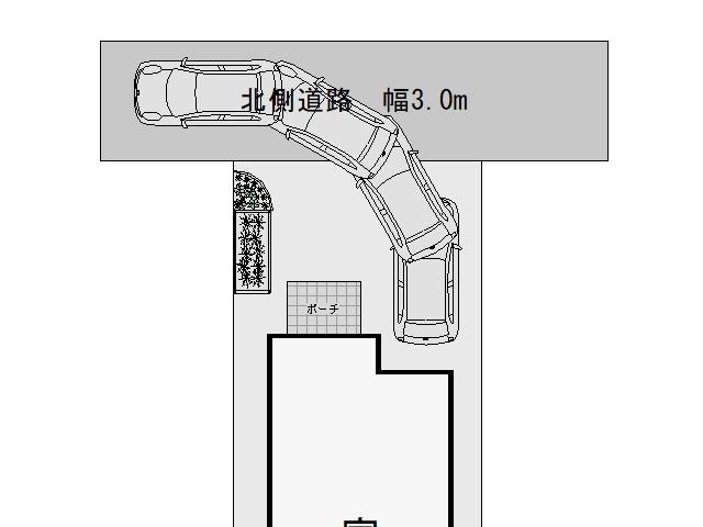3m幅の狭い道路からの入出庫考察1
