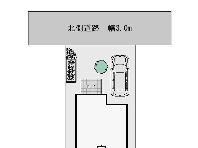 3m幅の狭い道路からの入出庫考察シンボルツリー設置1