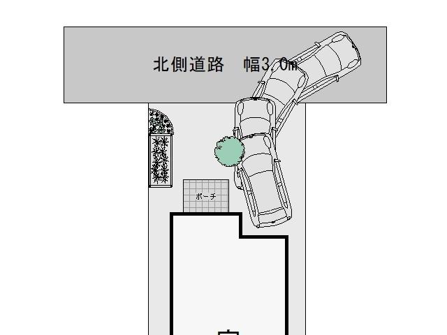 3m幅の狭い道路からの入出庫考察シンボルツリー設置3