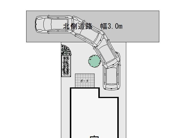 3m幅の狭い道路からの入出庫考察シンボルツリー設置2