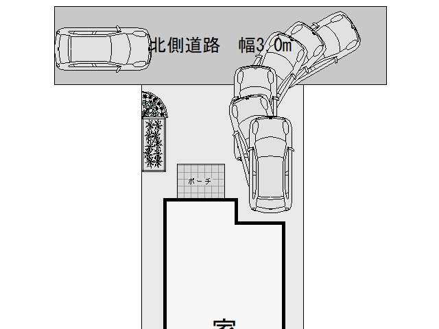 3m幅の狭い道路からの入出庫考察3